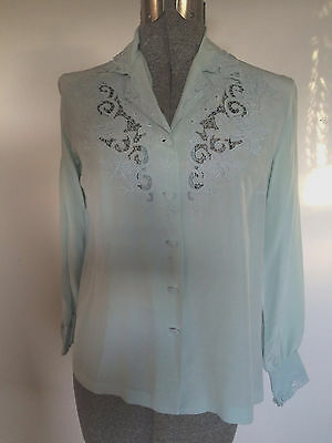 """Vtg 1950s Chinese Hand Embroidered Cutwork 100% SILK Blouse Bust 36"""""""