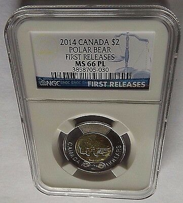 2014 Canada Ngc First Releases Ms66 Pl Polar Bear Toonie $2! Top Pop!