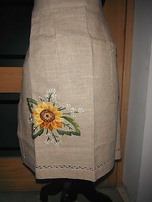 Vintage Linen/Cotton Blend Apron With Sunflower Embroidery & Counted Thread Work