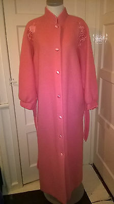 Vintage St Michael Soft Fluffy Pink Dressing Gown Full Length - 18 / 20