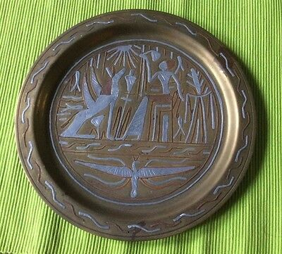Vintage African Brass and White Metal Tray