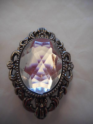 Vintage Silver Tone Faceted Clear Glass Brooch Pin Gift