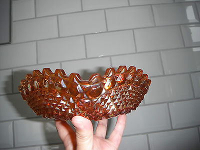 Vintage Unusual Iridescent Carnival Glass Square Bowl With Scalloped Edge Bowl