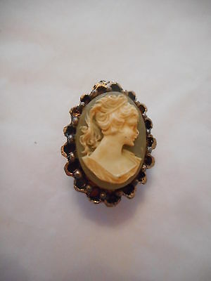 Vintage Gold Hand Carved Cameo Brooch Pin Gift