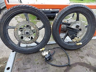 "17"" Motorcycle Wheels and Tyres c/w Discs and Hydraulics."