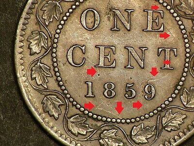 Canada  1859 Victoria Large Cent, Double 85 & Die Clash Variety #5261