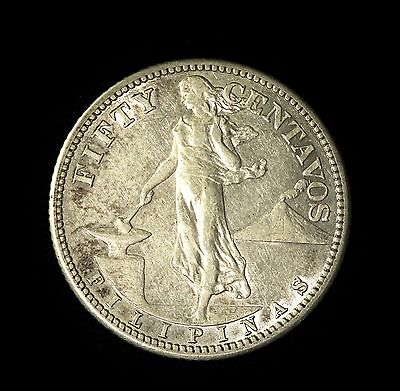 Philippines Silver 50 Centavos 1908 Lustrous Extremely Fine!