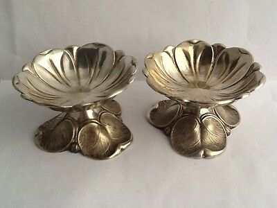 Pair Of Antique Art Nouveau Silver Plated Lilly Leaf Salt Cellars