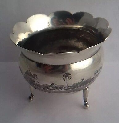 Vintage Antique Egyptian Silver Squat Vase / Bowl