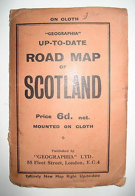 Vintage, Geographia Up-to-Date Cloth Road Map of Scotland. c1930.