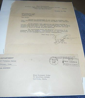 WWII Letter 1942 WAAC TO A LADY IN MASS.