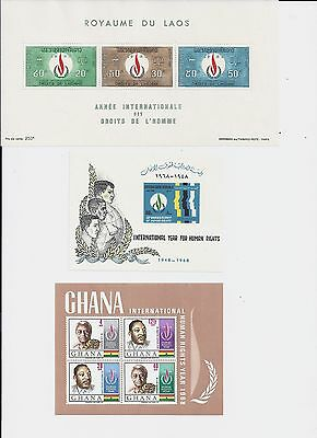 1968 Thematics Five Human Rights Mini sheets various countries UNM (1743)