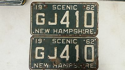 1962 NEW HAMPSHIRE Scenic License Plate GJ 410 Pair