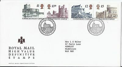 1992 GB Castle High Values Cover to £5 FDC Windsor Berkshire PM 24-3-92 (1808)