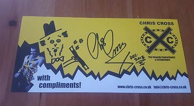 Signed Chris Cross Doodled Comp Slip Charity Auction Comedy Escapologist