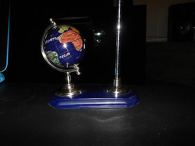 Small Desktop Gemstone Globe And Pen Semi Precious Stones  Stand
