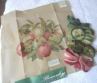 """BEVERLEY TRAMME TAPESTRY KIT 17678 GREEN & RED APPLES 24"""" x 24"""""""