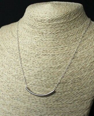 Sterling 925 Silver Bar Necklace - Sliding Bar Curve Curb Tube Chain