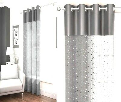 Sparkling Glittery Sequins Silver Grey Glitz Voile Bling Eyelet Curtain Panel