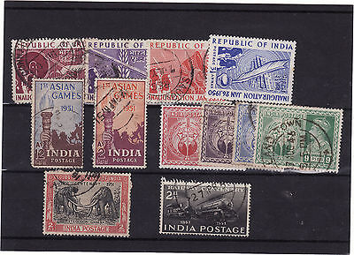 India - 1950-53 Selection Of Mainly Used 12 Stamps From This Period