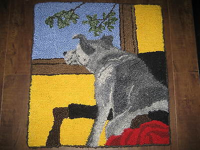 "Rug Hooking Pattern DOG DREAMING on Red Dot 14"" X 14"""