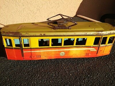Vintage Agatex Tin Toy Tram - Made in Romania - Friction - 30 cm