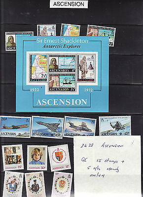 Ascension Islands - Qe 15 Stamps + 5 Minature Sheets Mainly  Mm/um