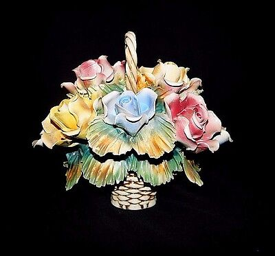 "Vintage Capodimonte Centerpiece  Flower Basket Bouquet Roses Made Italy 9"" x 8"""