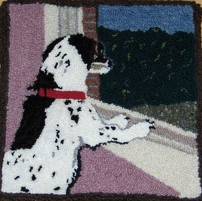 "Rug Hooking Pattern DOG WAITING on Red Dot 15"" X 17"""