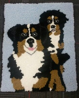 "Rug Hooking Pattern TWO BERNESE DOGS on Red Dot 19"" X 23"""