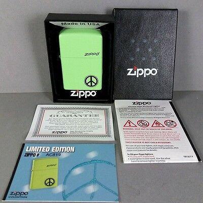 Zippo Peace Symbol Green Hippie Limited Edition Lighter in Box w/ Papers RARE