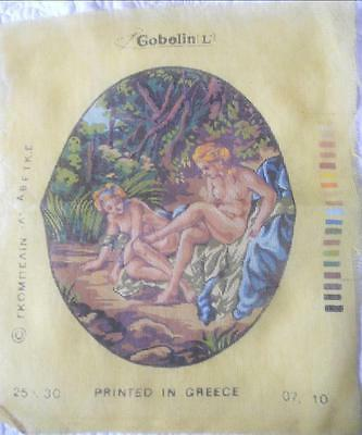Small Vintage Gobelin Printed Petit Point Tapestry Canvas Nudes In Forest