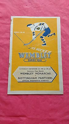 Wembley Monarchs v Nottingham Panthers 1949 Ice Hockey Programme