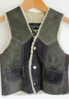 Vintage Wild West Cowboy Style Childs Retro Suede Waistcoat Perfect Condition