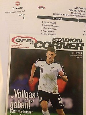 Austria V Wales Official Programme Stats Teamsheet  2018 World Cup Qualifying