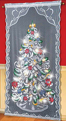 """40""""W x 84""""L Lighted Christmas Tree Curtain Panel"""