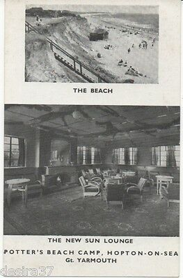Norfolk Postcard Hopton On Sea Potters Beach Camp Beach & Sun Lounge In View