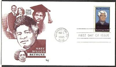 US FDC 1985 MARY McLEOD BETHUNE 22C #2137 MARG CACHET FIRST DAY OF ISSUE COVER