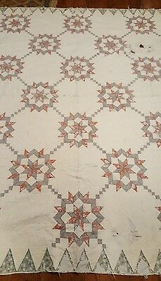 Antique quilt Star pattern small hand quilting cutter quilt early brown fabric