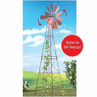 Nostalgic Rustic Finish Windmill Spinner Outdoor Garden Plant Trellis