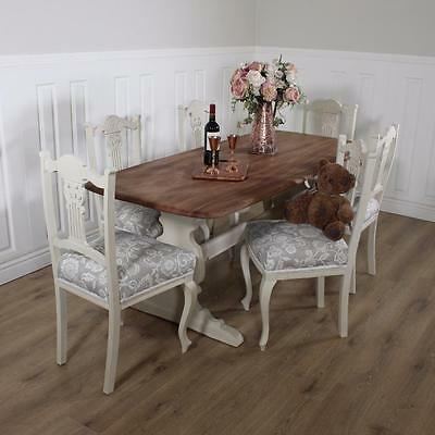 Shabby Chic Dining Table 6 chairs solid antique Kitchen Rustic farmhouse
