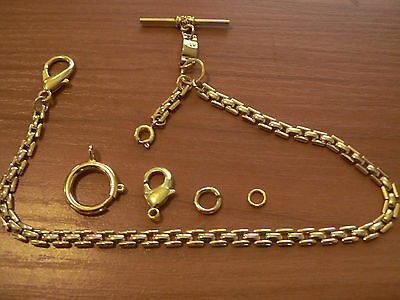 18k GF POCKET WATCH  CHAIN FOR THE  VEST OR PANTS + ADDED ATTACHMENTS