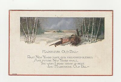 Vintage Postcard, New Year, Art Deco, OLD PAL VERSE, cancel Winchester Ohio 1928