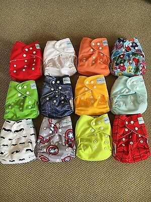 Babygoal Cloth Pocket Diapers + Bamboo Viscose Inserts Lot of 12 like Alva