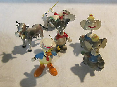 Vintage GOULA Spain wooden nodder bobble head toy lot cow, mouse, elephant, duck