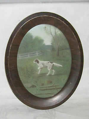 Vintage original pastel painting of red & white Irish Setter dog hunting dog
