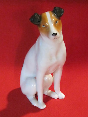 "Vintage Smooth Hair Fox Terrier porcelain dog figurine 5"" tall, stunning detail"