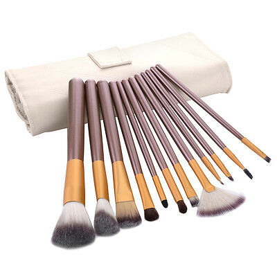 Professional 12pcs Pink Brushes Set Cosmetic Make Up Brush With Leather Case