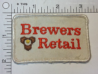 White BREWERS RETAIL Embroidered Patch Vintage Ontario Beer Store Crest USED