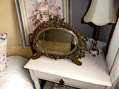 Antique Victorian Cherub Oval Beveled Mirror w/Easel Back Gold Wash Metal 16x14""